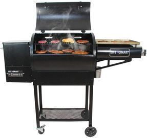 Lifesmart Dual Cook 600 sq. in. Pellet Grill and Griddle Combo, Black