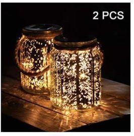 LED Solar Mercury Glass Mason Jar Hanging Lights - 2pk