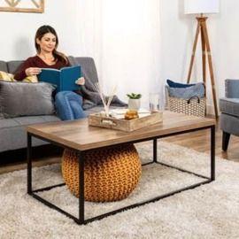 44 Modern Industrial Rectangular Wood Grain Coffee Table