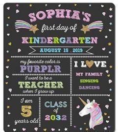First Day of School Chalkboard - Unicorn Theme