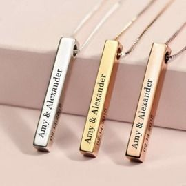 Sterling Silver 3D Engraved Personalized Bar Name Necklace