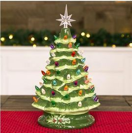 15 Pre-lit Hand Painted Ceramic Tabletop Tree