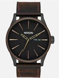Nixon Men's Sentry 42mm Black Dial Leather Watch