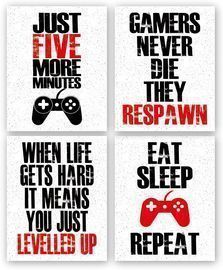 Set of 4 Funny Game Art Print Inspirational Words Quote Posters