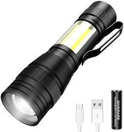 Tactical LED Flashlight, USB Rechargeable (Battery&USB Cable Included)