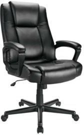 Realspace Hurston Bonded Leather High-Back Executive Chair, Black
