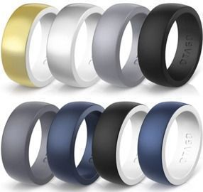 8 Pack Silicone Rings Wedding Bands