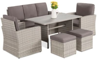 7-Seater Conversational Wicker Dining Table
