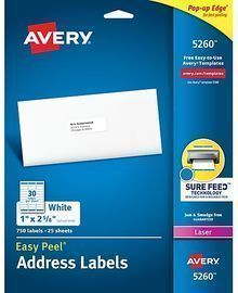Avery Easy Peel Laser Address Labels, 750ct