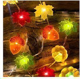 3D Pumpkins, Maple Leaves & Acorns String Lights