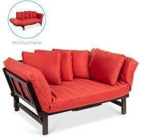 Convertible Acacia Wood Futon Sofa w/ 4 Pillows