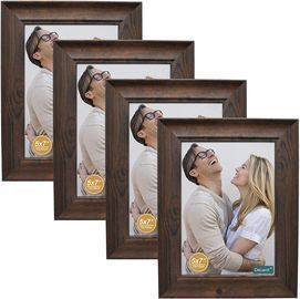 4pk decanit 5x7 Picture Frames Rustic Distressed Brown Wood Pattern