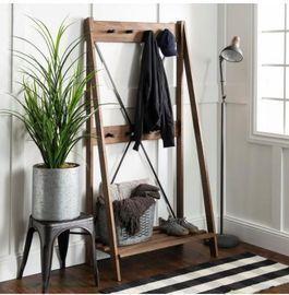 Wood Hall Tree With Shelf and 8-Hooks
