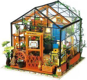 ROBOTIME DIY 3D Mini Green House w/ LED Dollhouse Wooden Miniature Furniture Kit
