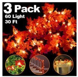 LED Fall Leaves Garland - 3 Pack