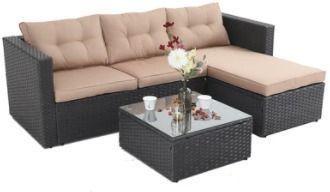 Phi Villa 3-Piece Rattan Outdoor Sectional Sofa Set