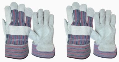 Blue Hawk Large Men's Leather Gloves - 2 Pairs