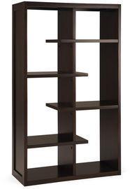 Simpli Home 60 in. Dark Chestnut Brown Wood 4-shelf Accent Bookcase