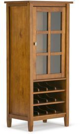 Simpli Home Solid Wood Rustic High Storage Wine Rack Cabinet