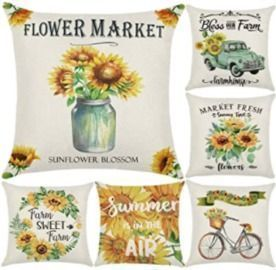 Sunflower 18x18 Pillow Covers - 6 Pack