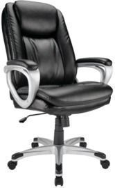 Realspace Tresswell Bonded Leather High-Back Executive Chair, Black/Silver