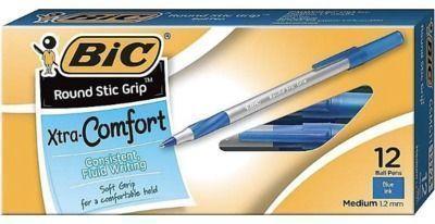 12/Pack BIC Round Stic Grip Xtra Comfort Ballpoint Pens