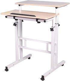 Mind Reader 2-Tier Adjustable Sit and Stand Mobile Workstation Desk