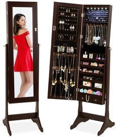 6 Tier Standing Jewelry Mirror Armoire W/ Led Lights
