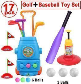 17pc Golf + Baseball Toy Set