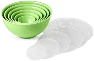 Melamine Mixing Bowls w/ Lids - Lime Green