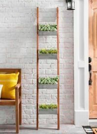 Wooden Ladder with Galvanized Planters