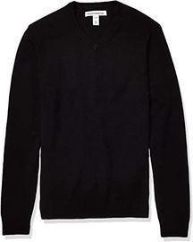 Amazon Essentials Midweight V-Neck Men's Cotton Sweater (Black)