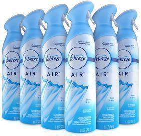 Febreze 6pk Air Freshener and Odor Spray, Linen & Sky Scent, 8.8 Oz