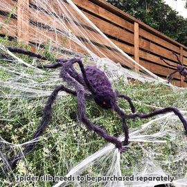 6.5ft Halloween Outdoor Posable Furry Giant Scary Fuzzy Spider