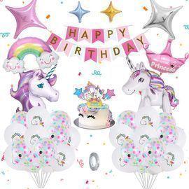 Unicorn Birthday Balloons With DIY Cake Topper