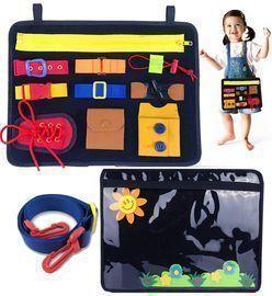Sensory Toys Montessori Basic Skills Activity Board