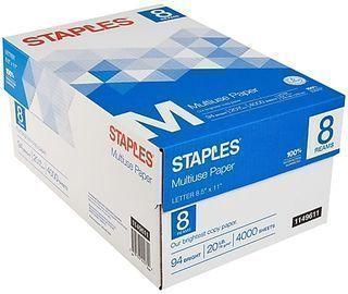 Staples Multipurpose Paper, 8 Reams/Carton