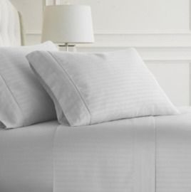 4-Piece Striped Microfiber King Sheet Set - White