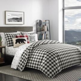 Mountain 3-Piece Black Plaid Duvet Cover Set - Full/Queen