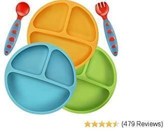 PandaEar Divided Silicone Baby & Toddler Plates - 3 Pack
