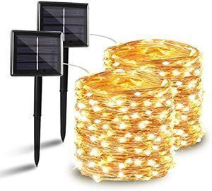BHCLIGHT 72ft 200LED Solar String Lights, 2pk