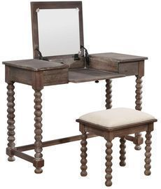 Ashley Antique Brown Spindle Vanity Set by Linon Home Decor