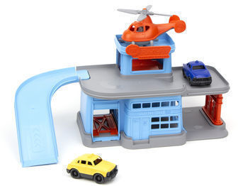 Green Toys Parking Garage with 3 Vehicles