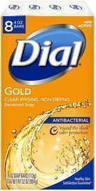 Dial 8 Pack of Antibacterial Bar Soap, Gold, 4 Ounce
