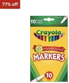 Crayola 10/Pack Classic Kid's Markers, Fine Point, Assorted