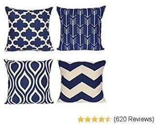 Geometric Throw Pillow Covers Navy Blue