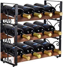 Rustic 3 Tier Stackable Wine Rack