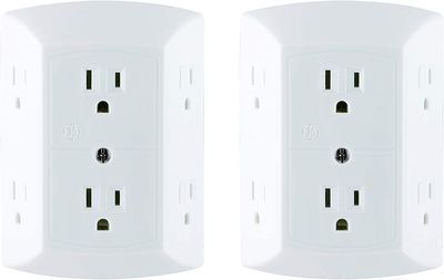 GE 6-Outlet Adapter Spaced Wall Tap 2-Pack