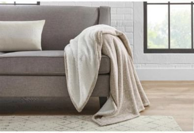 Oversized Sweater Knit Charcoal Sherpa Throw Blanket