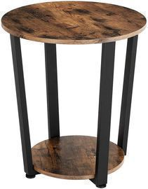 KingSo Round End Table 2-Tier Industrial Side Table